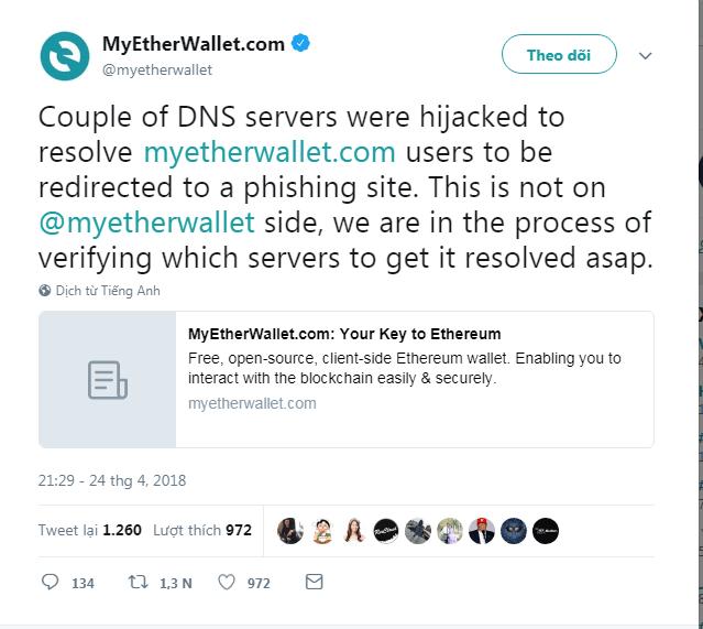 MyEtherWallet đang bị hacker tấn công DNS - 2