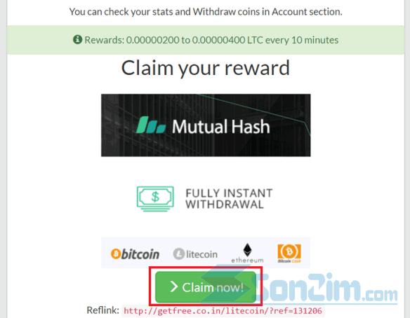 Các bước kiếm Litecoin miễn phí với GetFree Coin - Bước 2.2