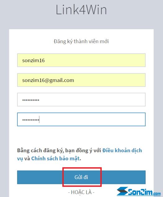 Các bước tạo tài khoảnLink4win - Bước 3