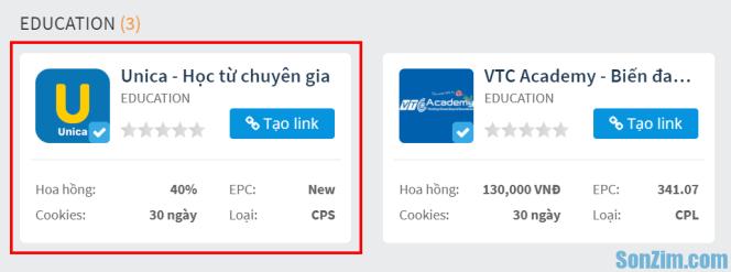 Chiến dịch Unica trên Accesstrade | Tiếp thị liên kết với Unica