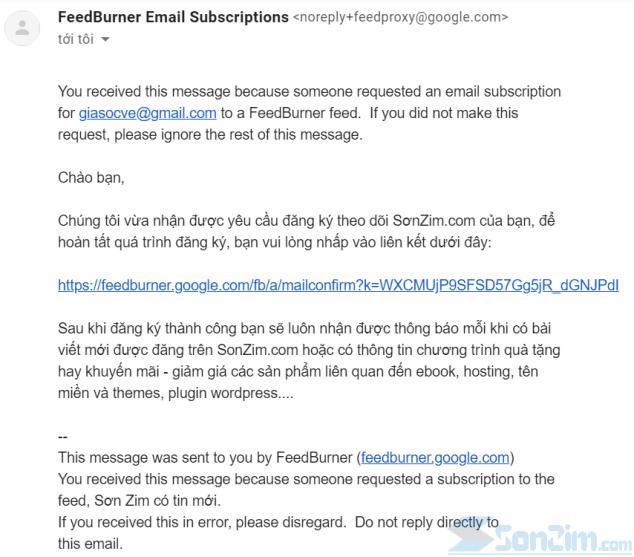 Mẫu email kích hoạt FeedBurner