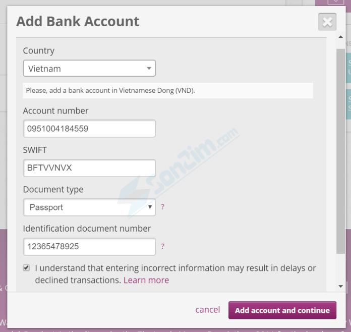 Cách thêm tài khoản Ngân hàng vào ví Skrill - Bước 2