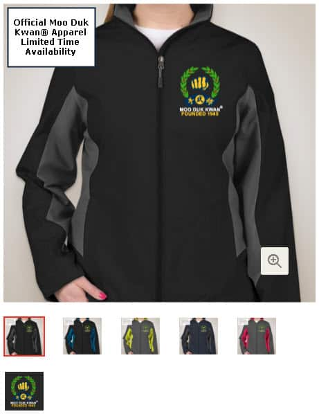 Official Licensed Moo Duk Kwan apparel available on multiple color combination Port Authority name brand jackets for ladies