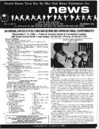 1983 11 Usa Moo Duk Kwan Federation Newsletter