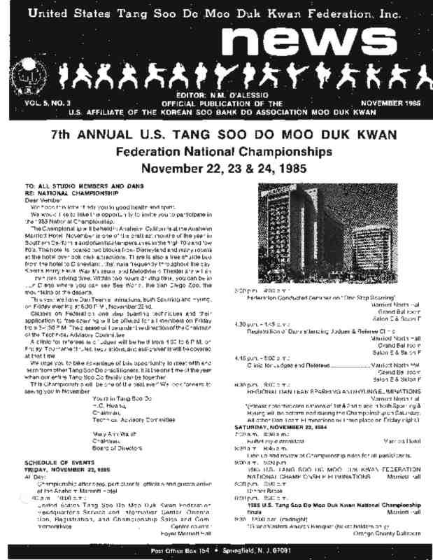 thumbnail of 1985 11 Usa Moo Duk Kwan Federation Newsletter