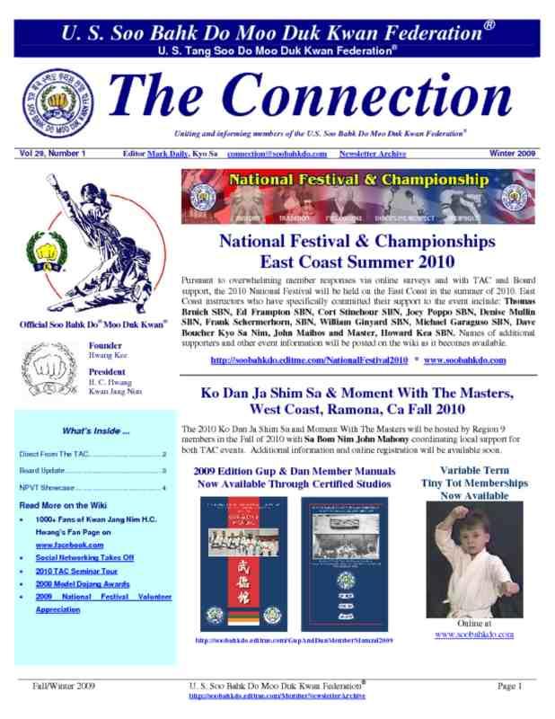 thumbnail of 2009 12 Usa Moo Duk Kwan Federation Newsletter