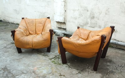 MP-211 Leather Lounge chairs by Percival Lafer Mid centur. Sold