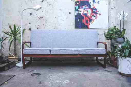 mid century, retro, vintage sleigh couch
