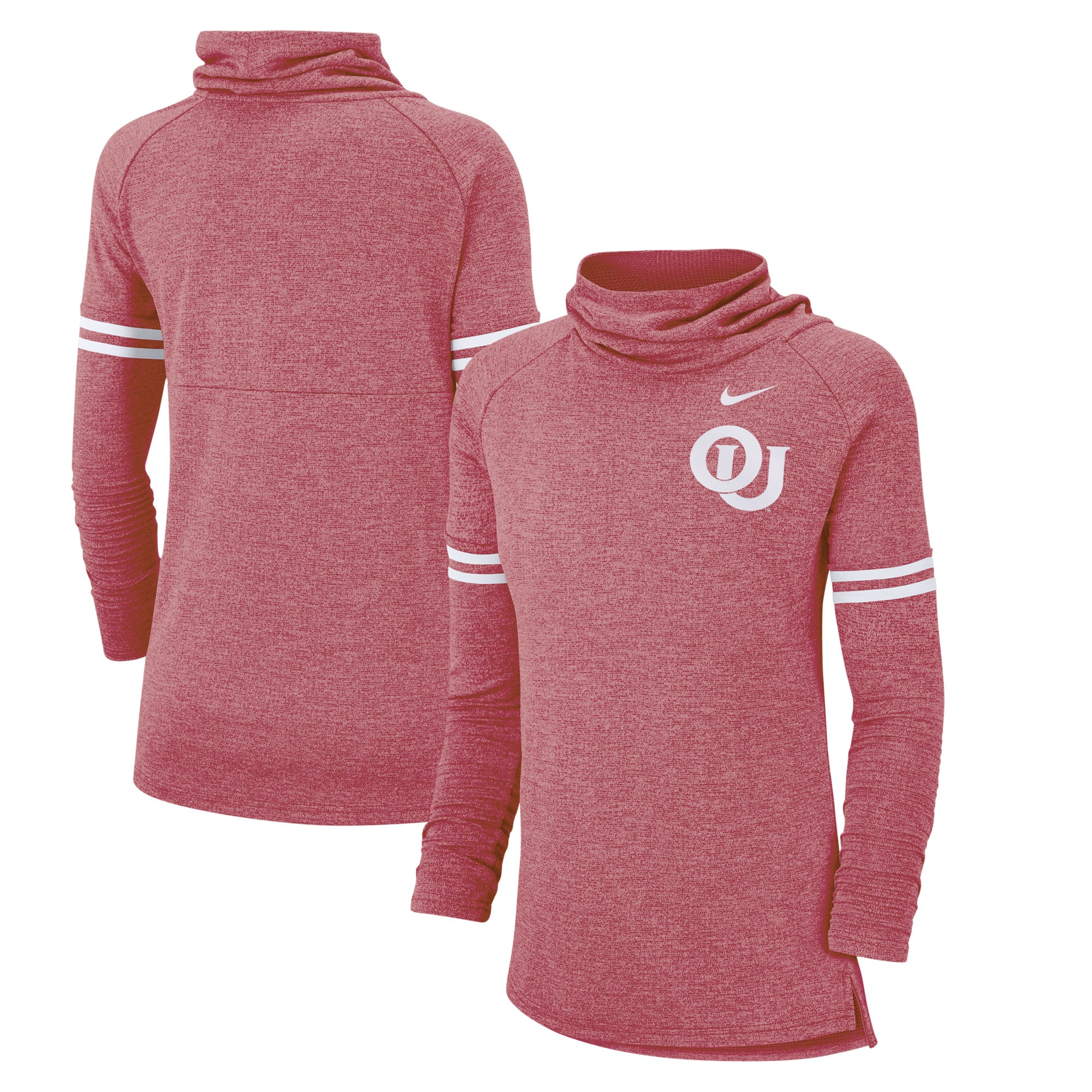 Oklahoma Sooners Nike Women's Vault Sleeve Striped Funnel Neck Sweatshirt - Heathered Crimson