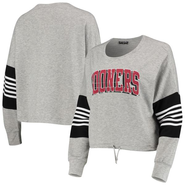 Oklahoma Sooners Women's Real MVP French Terry Striped Pullover Sweatshirt - Gray