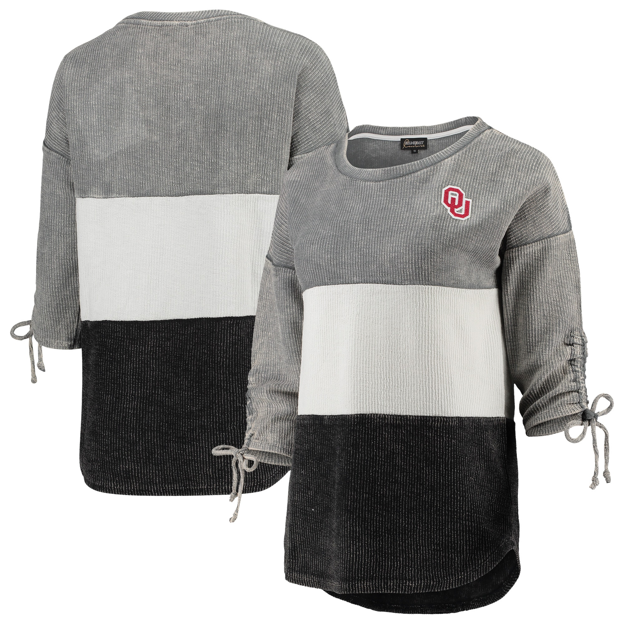 Oklahoma Sooners Women's Strike a Cord Velour Colorblock Tunic Sweatshirt - Gray