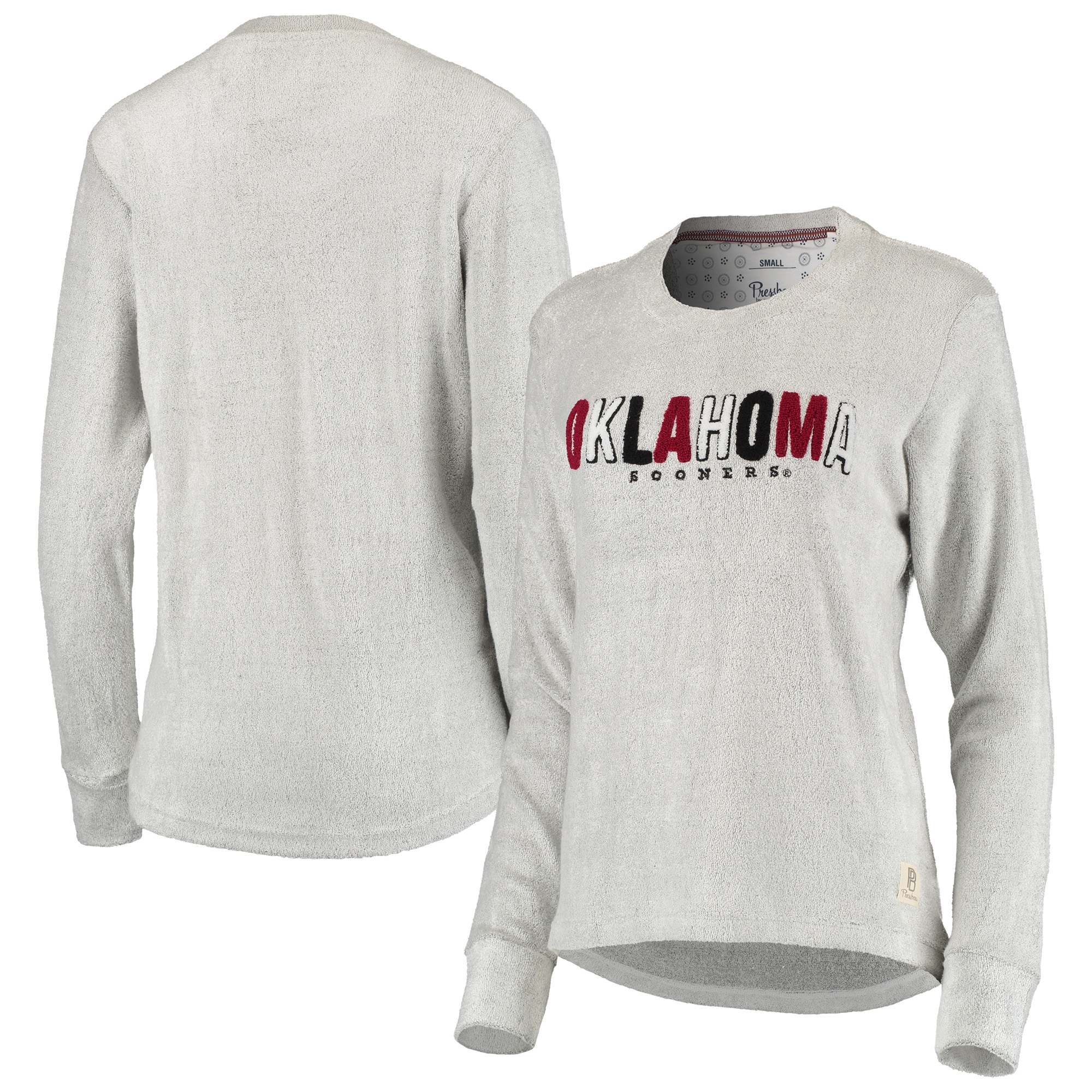 Oklahoma Sooners Pressbox Women's Marion Chenille Cuddle Pullover Sweatshirt - Heathered Gray
