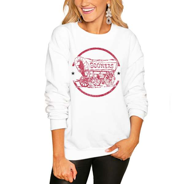 Oklahoma Sooners Women's End Zone Pullover Sweatshirt - White