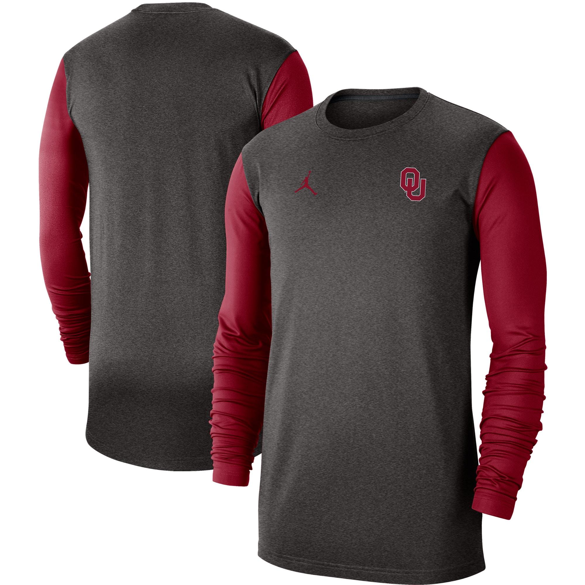 Oklahoma Sooners Jordan Brand Performance Long Sleeve T-Shirt - Heathered Gray/Crimson