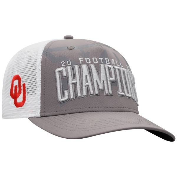Oklahoma Sooners Top of the World 2020 Big 12 Football Champions Locker Room Adjustable Hat - Gray/White