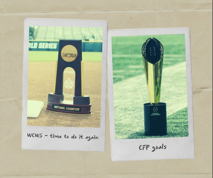 WCWS and CFP championship tropies in polaroids