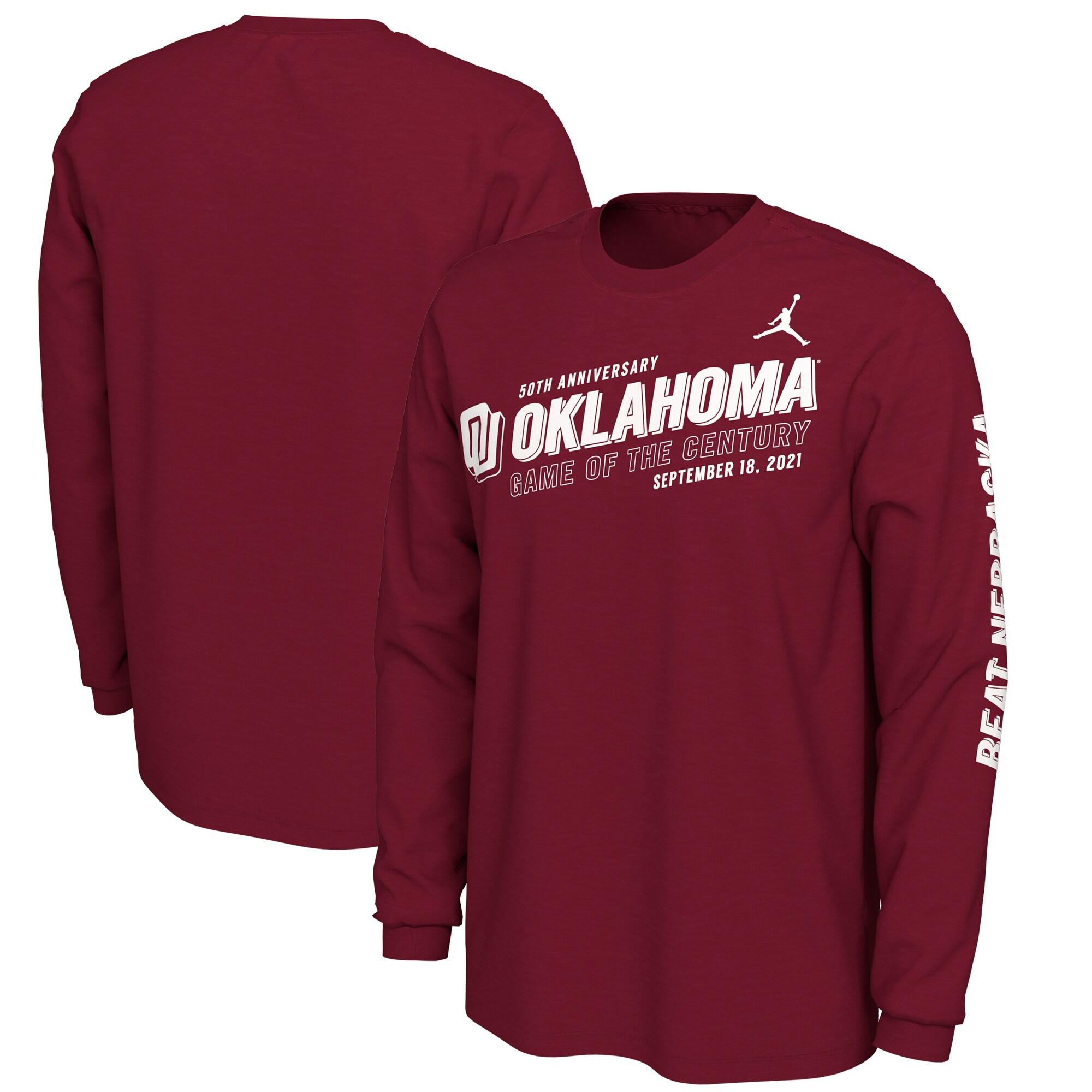Oklahoma Sooners Jordan Brand Game Of The Century 50th Anniversary 2-Hit Long Sleeve T-Shirt - Crimson