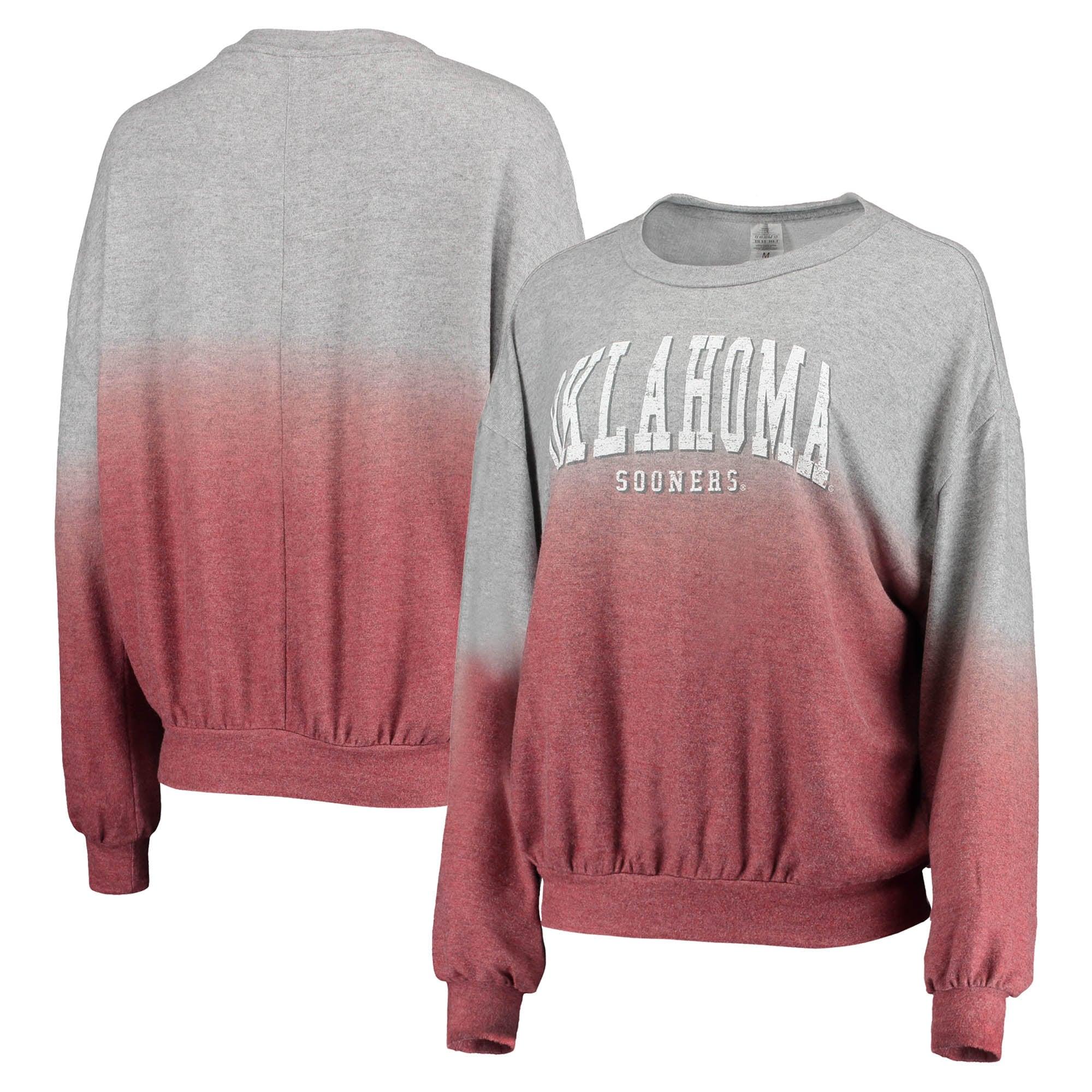Oklahoma Sooners Gameday Couture Women's Slow Fade Hacci Ombre Pullover Sweatshirt - Crimson/Gray