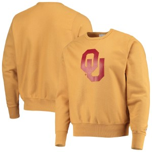 Men's Champion Gold Oklahoma Sooners Vintage Wash Reverse Weave Pullover Sweatshirt