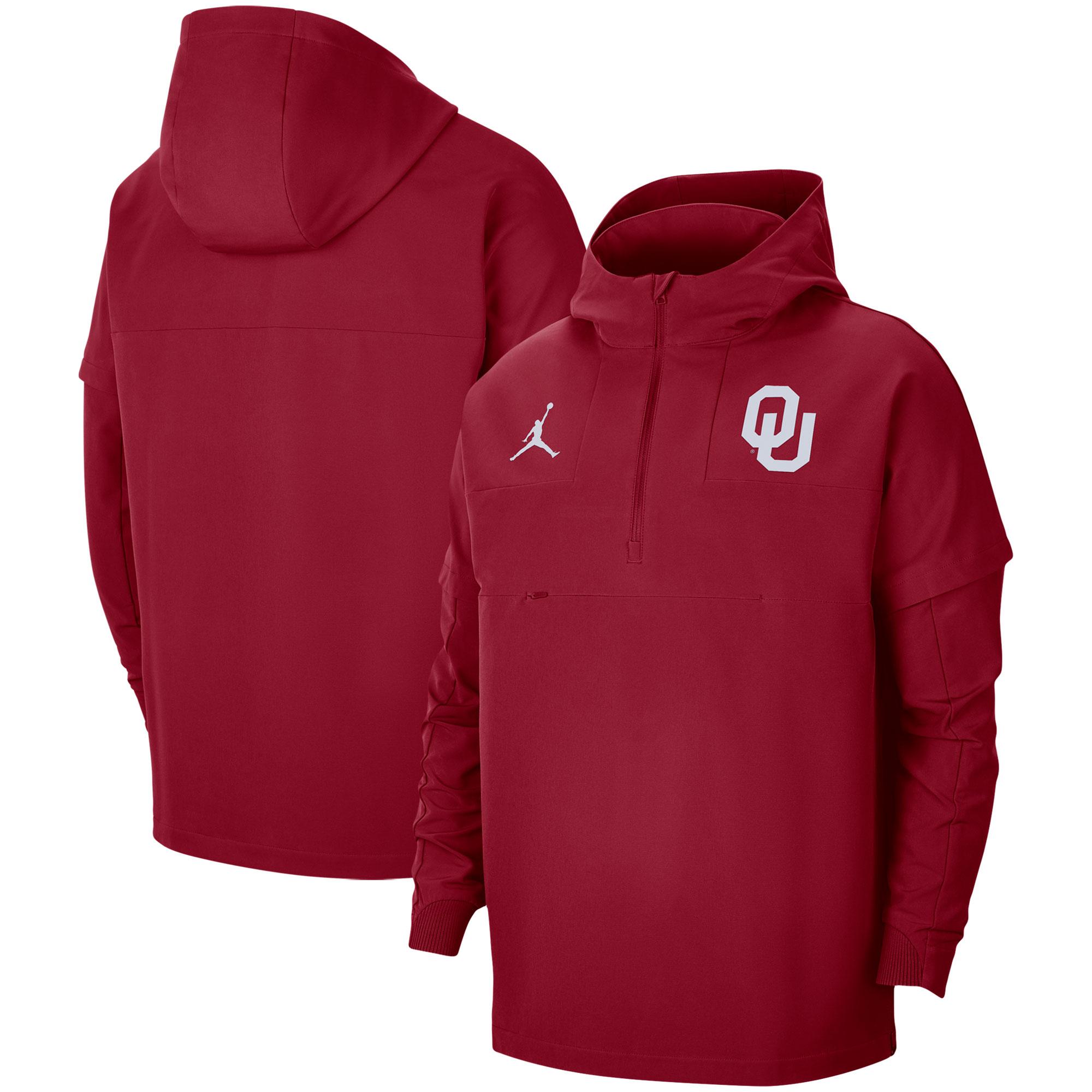 Men's Jordan Brand Crimson Oklahoma Sooners Pregame Half-Zip Hoodie