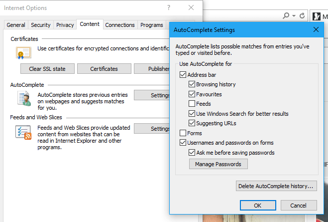 autocomplete settings internet explorer