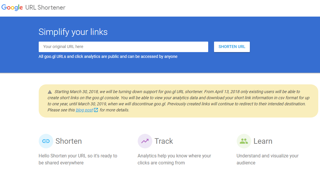 Google URL Shortener goo.gl has been shut down
