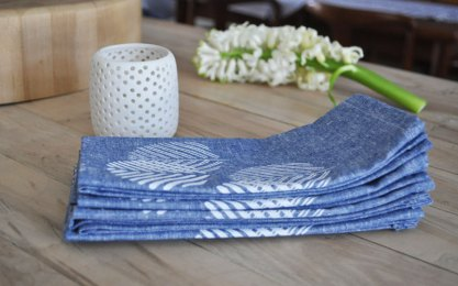 Manhole-inspired leaf print napkins by Salvage Ink; image copyright Shannon Smith, Salvage Ink