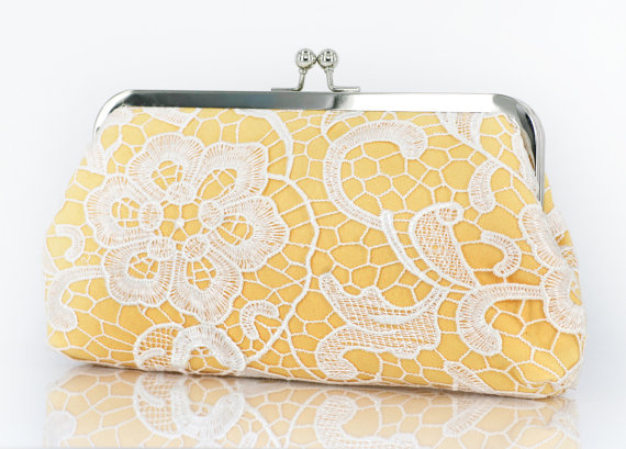 White Lace Bridal Clutch in Canary Yellow 8-inch L'HERITAGE $60 http://etsy.me/13qizC9