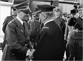Adolf Hitler greets his ally, Miklos Horthy.