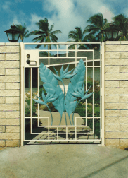 Copper Bird of Paradise Side Entrance Gate