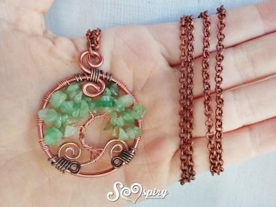 collana wire albero della vita mini in avventurina 3
