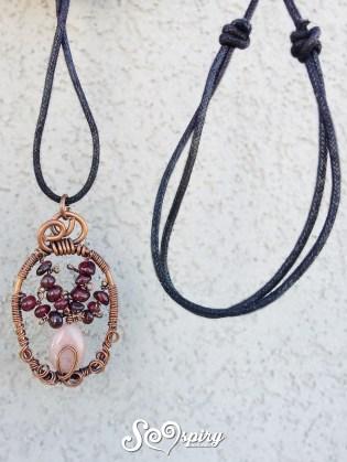 collana rame anticato wire vaso di fiore rodonite e granato antique copper wire necklace flower vase4