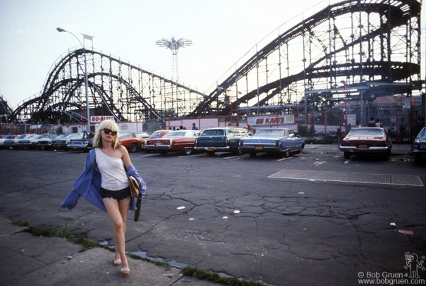 Debbie Harry of Blondie in front of The Thunderbolt in Coney Island, NY. August 7, 1977. © Bob Gruen/www.bobgruen.com Please contact Bob Gruen's studio to purchase a print or license this photo. email: info@bobgruen.com Image #: C-63