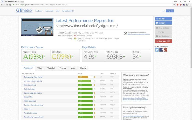 SEO gtmetrix screenshot