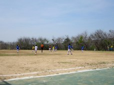 "My little brother's soccer ""game"" - the other team didn't show up so his team played amongst themselves just for kicks."