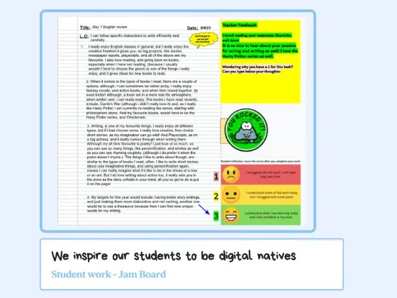 school high school online student works