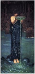 The beautiful 'water bearer' is Circe by John William Waterhouse (1892). PD-US.