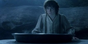 """Frodo at Galadriel's """"Seeing Mirror"""" in Lord of the Rings"""