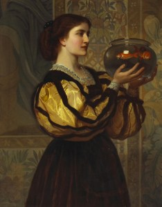 """The Goldfish Bowl"" (c. 1870) by Charles Edward Perugini (1839-1918)"