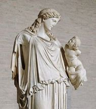 Statue of Eirene with the infant Ploutos: Roman marble copy of bronze votive statue by Cephisodotus the Elder, now in the Glyptothek, Munich (Image from Wikimedia Commons)