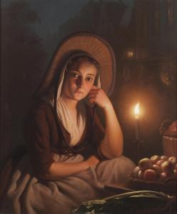 Market Girl by Candle Light, by Petrus Van Schendel (1806-1870)