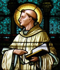 Bernard of Clairvaux (detail), North Aisle Stained Glass Window, St. Louis Church, Buffalo.