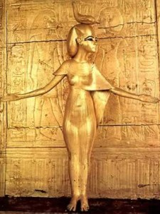 """Selqet protecting Tutankamen's Shrine, Egypt. """"Egyptian goddess Serket. She is often depicted as a woman with a scorpion gracing her crown. She holds the ankh, the symbol of life, in one hand and a staff, representing power, in the other."""" (WIkipedia)"""