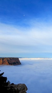 The Moon and Fog Meet at the Grand Canyon. Public domain image courtesy of WikiMedia.