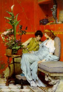 Confidences, 1869, by Sir Lawrence Alma Tadema. PD-US.
