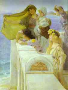 At Aphrodite's Cradle, 1908, by Sir Lawrence Alma-Tadema. Public domain image courtesy of Wikimedia.