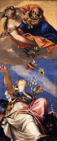 Juno Showering Gifts on Venetia (1554-1556), by Paolo Veronese. Public Domain Image courtesy of Wikimedia.
