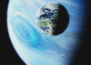 Earth and the 'great benefic', Jupiter ... and moons. Public domain image courtesy of NASA-U.S.