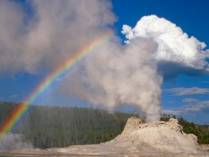 25 Sep 2009 --- Castle Geyser with Rainbow, Yellowstone National Park, Wyoming --- Image by © Gustav Verderber/Visuals Unlimited/Corbis