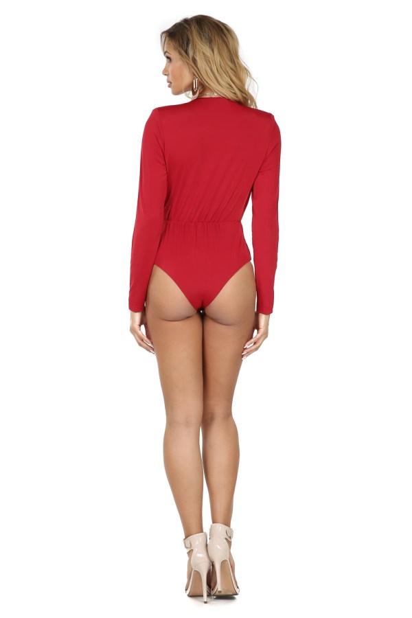 Harlowe Red Plunging Neckline Bodysuit